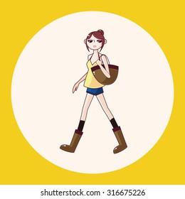shopping girl theme elements vector,eps