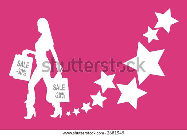 Shopping girl vector.