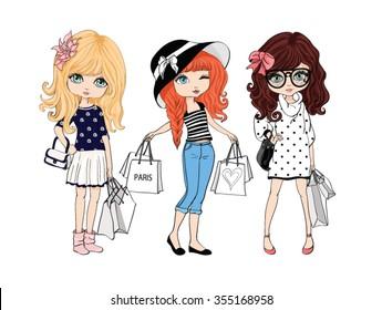 shopping girl vector design.T-shirt print.Three friends cartoon characters.