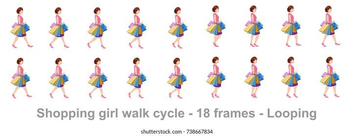 Shopping girl walk cycle sprite sheet