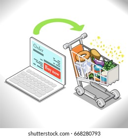Shopping groceries online. Laptop with order screen, arrow pointing to filled shopping card (isometric concept illustration)