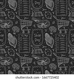 Shopping hand drawn doodle vector seamless pattern, texture, background, backdrop. Chalk drawings on dark background. Check list, corn,  eco pack, paper bag, trolley, broccoli, lemon, brush, shrimp.