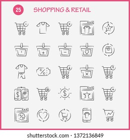 Shopping Hand Drawn Icon Pack For Designers And Developers. Icons Of Coupon, Discount, Dollar, Price, Prices, Box, Package, Refresh, Vector