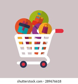 Shopping icon design over purple background, vector illustration