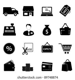 Shopping icon set in black