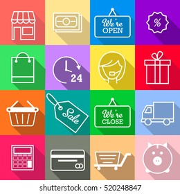 Shopping icon set. E-commerce square icons. Vector icon collection