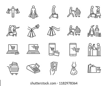 Shopping icon set. Included icons as buy, shopaholic, handful bags, cart, shop and more.