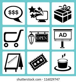 shopping icon set, marketing icon set, e commerce icon set