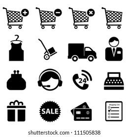 Shopping icon set on white background