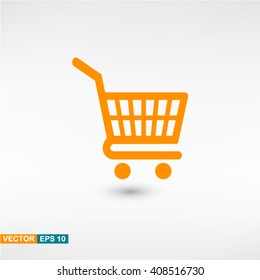 Shopping icon vector eps 10. Orange Shopping icon with shadow on a gray background.