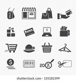Shopping icons isolated on white background