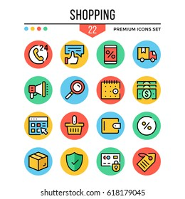 Shopping icons. Modern thin line icons set. Premium quality. Outline symbols, graphic elements collection, concepts, flat line icons for web design, mobile apps, ui, infographics. Vector illustration