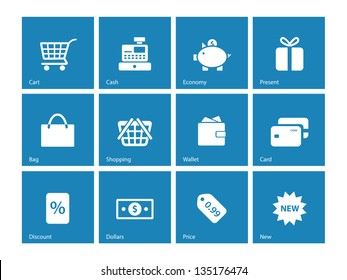 Shopping icons on blue background. Vector illustration.