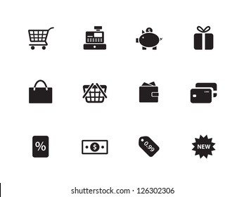 Shopping icons on white background. Vector illustration.