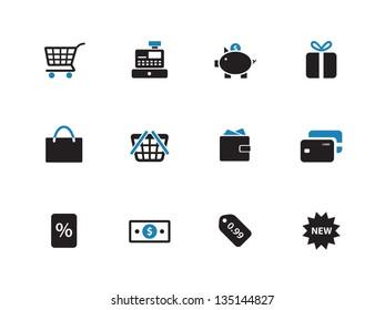 Shopping icons on white background. Vector illustration.