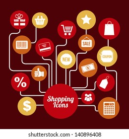 shopping icons over red background vector illustration