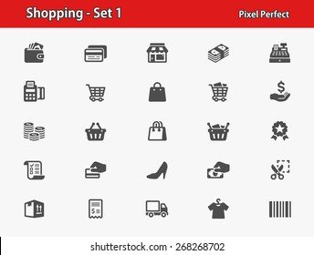 Shopping Icons. Professional, pixel perfect icons optimized for both large and small resolutions. EPS 8 format.