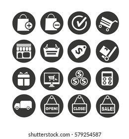 shopping icons set in circle button style
