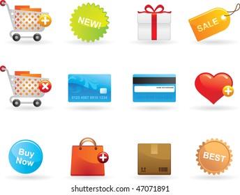 Shopping icons set. Colorful icons design, e-commerce.