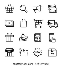 Shopping icons set, E-commerce business, Symbol thin line design for application and websites on white background, Vector illustration
