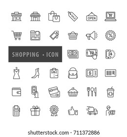 Shopping icons set, E-commerce, Vector illustration
