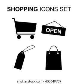 Shopping icons set. Silhouette symbols vector illustration