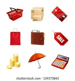 Shopping icons set. Vector