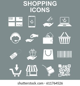 Shopping icons set. Vector concept illustration for design.
