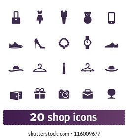 Shopping icons: store vector set