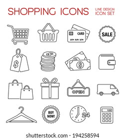 Shopping icons - thin line vector collection.