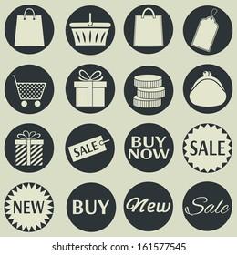 Shopping icons. Vector set, EPS 8.