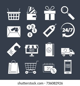 Shopping icons vector set isolated. Purchase and delivery collection. Online or offline shopping sign. Money sale discount gift tag card wallet delivery symbols collection. Black and white style
