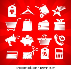 Shopping icons vector set, sale symbols collection