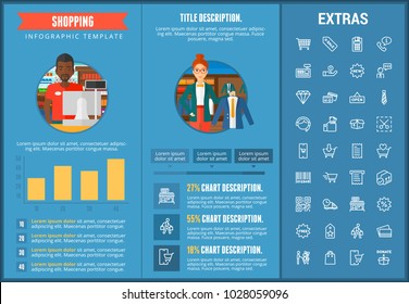 Shopping infographic template, elements and icons. Infograph includes customizable graphs, charts, line icon set with shopping cart, online store, mobile shop, price tag, retail business etc.