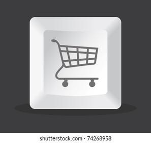 shopping key computer on black background