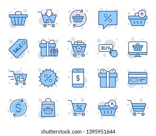 Shopping line icons. Gift box, Present coupon and Sale offer tag signs. Shopping cart, surprise gift and Delivery symbols. Speech bubble, Discount tag coupon , Credit card. Online sale. Vector