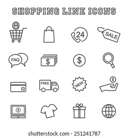 shopping line icons, mono vector symbols