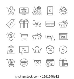 Shopping line icons. Present coupon, Gift box and Sale offer tag signs. Shopping cart, surprise gift and Delivery symbols. Speech bubble, Discount tag coupon , Credit card. Online sale. Vector