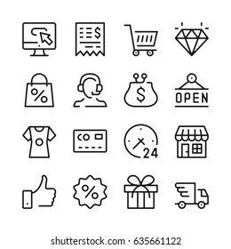 Shopping line icons set. Modern graphic design concepts, simple outline elements collection. Vector line icons