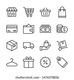 Shopping line icons set vector illustration