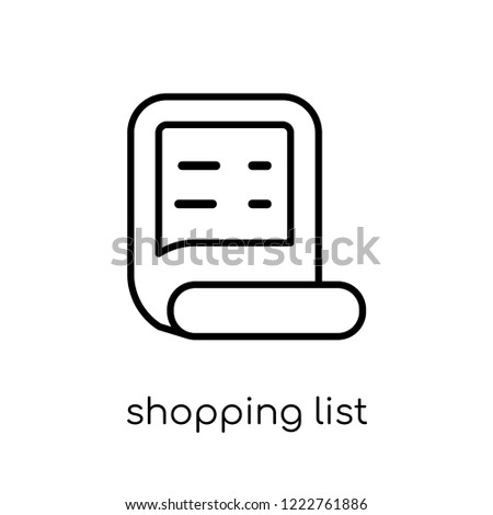 shopping list icon trendy modern flat linear vector shopping list icon on white background from