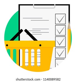 Shopping list icon, vector illustration. Checklist food planning for market, everyday notebook