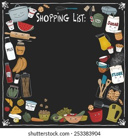 Shopping list on a black board with different food items and cooking utensils