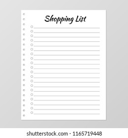 Shopping list template. Planner page. Lined and numbered paper sheet. Blank white notebook page isolated on grey. Stationery for organization and planning. Gift list. Realistic vector illustration.