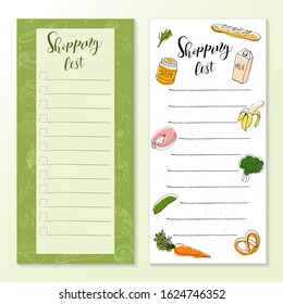 Shopping list templates with doodle drawings of food, on white and color background. Vector illustration of a set of products, calligraphic inscription.