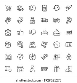 Shopping and logistics vector icons, symbol designs - Part 1