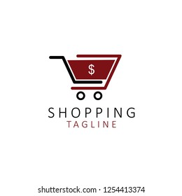 Shopping logo design template with cart icon.