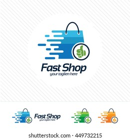 Shopping logo design vector , fast symbol and hand thumb on shopping bag. Abstract concept for online store.