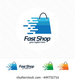 Shopping logo design vector , fast symbol on shopping bag. Abstract concept for online store.