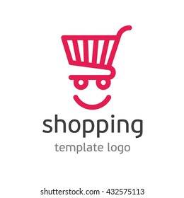 Shopping logo template. Template logo for the shopping center. Abstract colorful shopping cart icon and smile. App Shopping Logo. Universal template logo for business, shopping, trading platform.